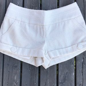 BEBE Textured Thick Rolled Cuff Cream Shorts